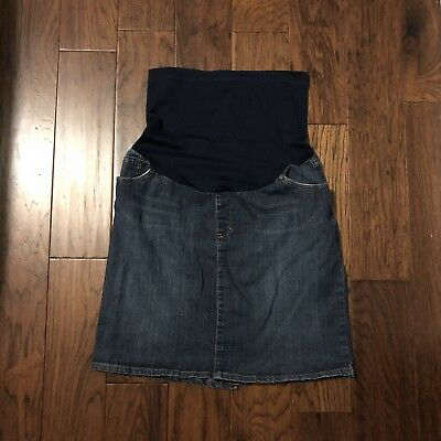 Liz Lange Dark Denim Blue Jean Maternity Full Tummy Stretch Skirt Size Medium
