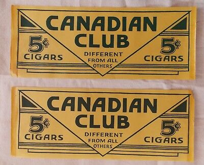 Lot of 2 Vintage Canadian Club Cigars Window Poster Sign ORIGINAL