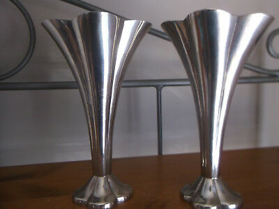 Lovely Pair of Silver Plated Art Deco Vases