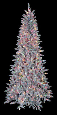 silver iridescent pre lit 550 multi color tinsel christmas tree 75 ft holiday - Polytree Christmas Tree