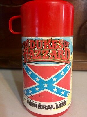 """Vintage 1980 Aladdin Thermos """"dukes Of Hazzard"""" General Lee Made In Usa"""
