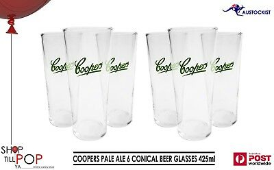 COOPERS Pale Ale 6 x Conical Beer Glasses 425mls BNWOB Aussie MAN Cave Party
