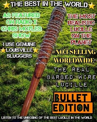 """'The Walking Dead Negan's Lucille Bat Replica 34""""Real wood,  REAL BARBEDWIRE"""