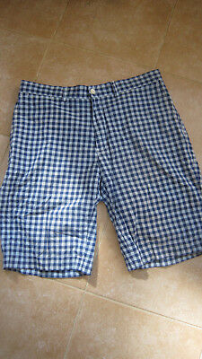 Beautiful Pair Of Ralph Lauren Check Shorts Blue/light Blue W34