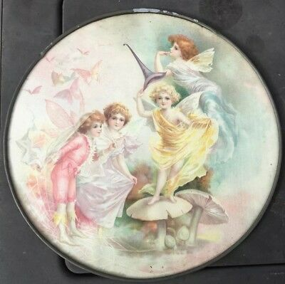 "Vtg Flue Cover 4 Fairies Butterflies Spider Web Mushroom Fairy 9 1/2"" Diameter !"