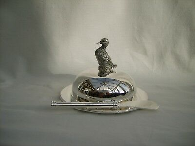 Silver Plate and glass butter dish with spreader