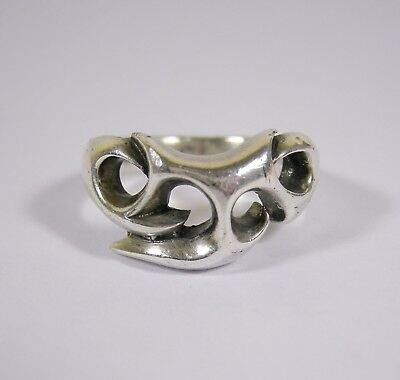 Large Heavy Vintage Gothic Sterling Silver Ring Size S 11g