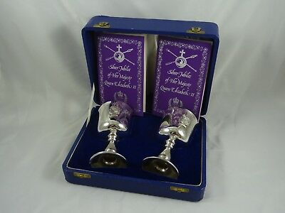 BOXED pair , solid silver `QUEENS JUBILEE`, WINE GOBLETS, 1977, 334gm