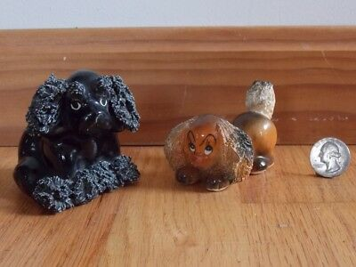 2 VTG Redware Black Brown Spaghetti Poodle Puppy Dogs Japan Seated Playing