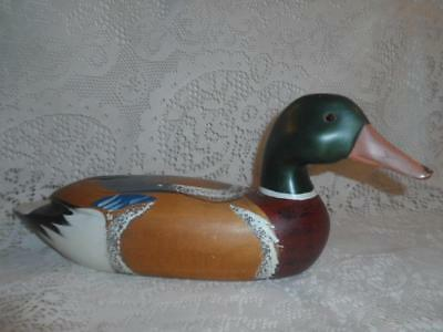 Vintage Hand-Painted Carved Wood Duck Mallord Hunting Decoy Display w/Glass Eyes