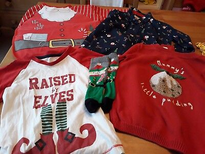 5 x 2-3 Years Christmas Clothes Items: Jumper, Shirt, Top, Bib & Socks Cheap