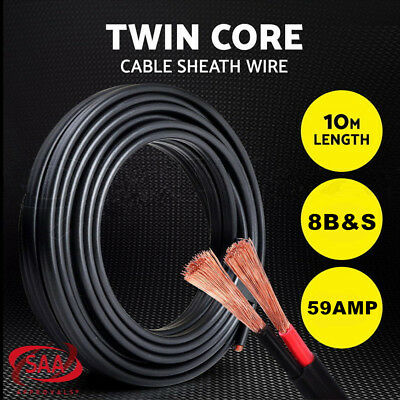 Twin Core Wire 10M 8B&S SAA 2 Sheath Electrical Copper Cable Automotive 4X4 12V