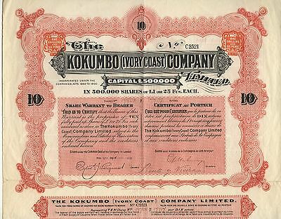 Elfenbeinküste: Kokumbo Company Ltd. – Aktie über 10x 1 £, London, April 1903