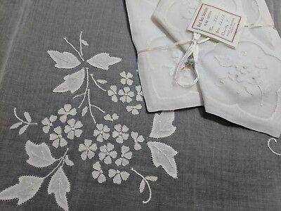 Vintage  MADEIRA  Linen Organdy Applique  Tablecloth & Napkins Set Gremio Seal