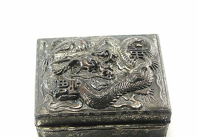 Antique Asian Chinese Dragon Silver Tone Metal & Wood Hinged Box Nice Decoration