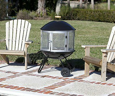 Outdoor Fire Pit Patio Backyard Metal Round Stove BBQ Firepit W/ Wheels  Portable