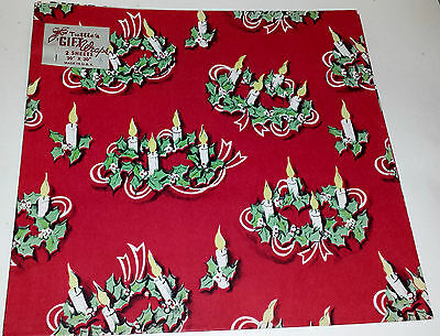 Vintage Christmas Wrapping Paper TUTTLE'S GIFT WRAPS Candles and Holly on Red