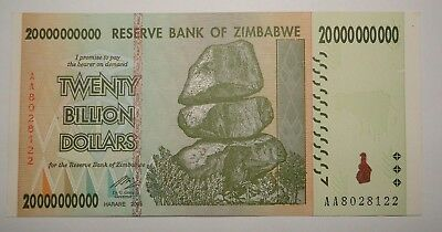 Zimbabwe 20 Billion Dollars Note. Uncirculated.