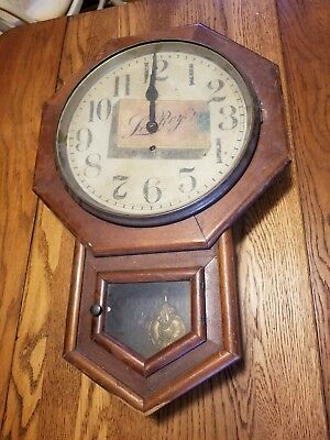 Sessions octagon/schoolhouse wall clock, time only, Le Roy Cigarette Dial