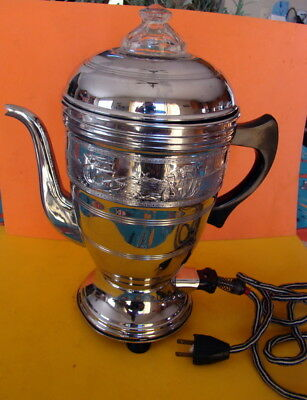 Vintage Foreman 4 Family Electric Coffee Percolator - 1930's - Chrome Over Brass