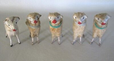 5 Vintage German Putz Wooly Sheep Lamb Wood Stick Legs 2 1/4""