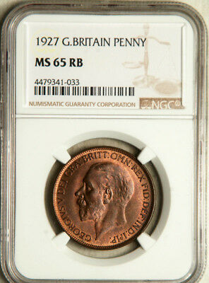 Ngc Ms-65 Red-Bn Great Britain 1 Penny 1927