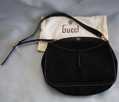 22f1f399aa841 RARE VTG GUCCI Italy Black Leather Long MakeUp / Pencil Travel Case ...