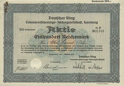 Deutscher Ring Lebensversicherungs-AG - Namens-Aktie, 100 RM, Hamburg, 1935