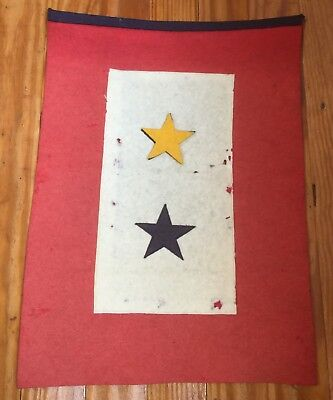 WWI, WWII Gold Star Mothers Flag, Two Stars, One Gold, One Blue, Rare