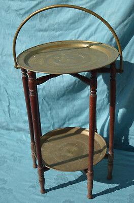 Vintage Anglo Indian  Folding 2 Tier Side Table With Brass  Trays  ..cake Stand