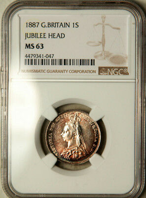 Ngc Ms-63 Great Britain Silver 1 Shilling 1887 (Colorful Toning!)