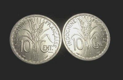 FRENCH INDOCHINA. Lot of 2 coins 10 CENTIMES Alu. 1945 Paris, & B. UNCIRCULATED.