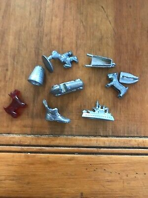 Vintage Monopoly Set of 9 metal Monopoly Playing Pieces / Tokens