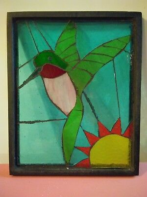 "HUMMINGBIRD & SUN FRAMED STAINED GLASS ART 11""X9"" COLORFUL glass"