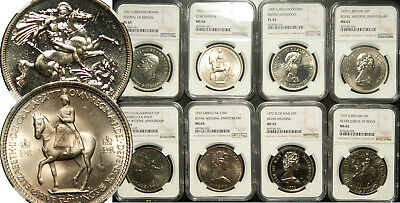 Ngc Pl/ms-65 Great Britain & Territories Lot Of 8 (Eight) 1 Crown Coins 1951-77