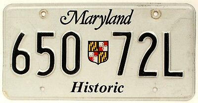 Maryland State Crest Shield HISTORIC VEHICLE License Plate, 650 72L