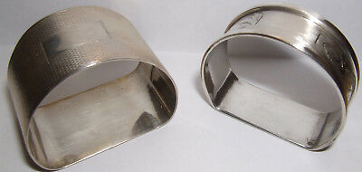 2 Vintage Sterling Silver D Shaped Napkin Serviette Rings