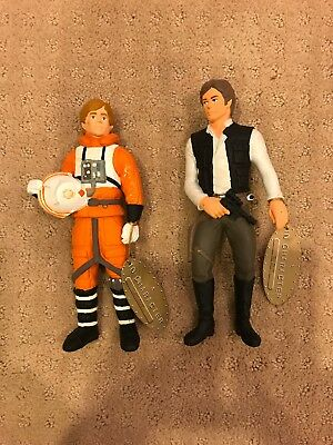 Lot of 2 Suncoast 1993 Star Wars In Character Figures With Tags Solo & Skywalker