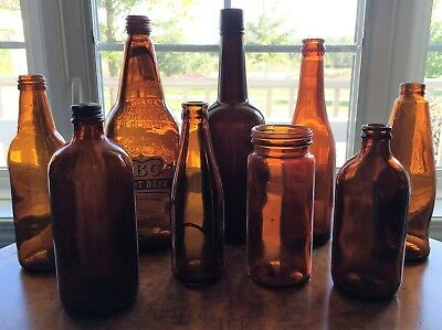 Antique & Vintage Amber Glass Bottles Mixed LOT