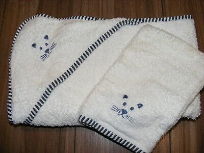 Vertbaudet White 100% Cotton Baby Bath Towel with Hood and matching Wash Mitten