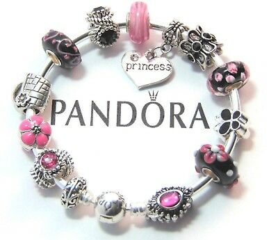 Authentic Pandora Silver Bangle Bracelet with European Charms Love Pink