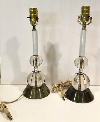 """Vintage Pair of Two Clear Ball Lamps White Stems Modern 14"""""""