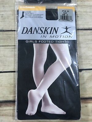 NEW Danskin Girls Dance Tights Size L Black Ultra Shimmery Footed Tight #331