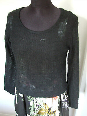 VINTAGE 1980s LIGHTWEIGHT MESH KNIT CROPPED SWEATER, BLACK, LONG SLEEVES