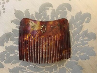 Antique/ Victorian Faux tortoiseshell Haircomb with paste stones