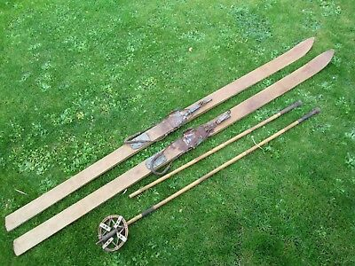 OLD Vintage Wooden Skis,bindings & BAMBOO poles-Antique, Display, Decor,Antique