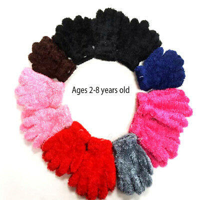 12pairs Girl's Boy Toddler Kids Cozy Fuzzy Warm Winter Gloves ages 2-8 years old