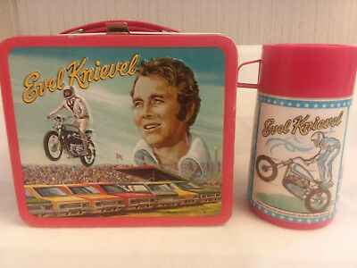Vintage 1974 Metal Evel Knievel Lunch Box & Thermos Dare Devil Motorcycle