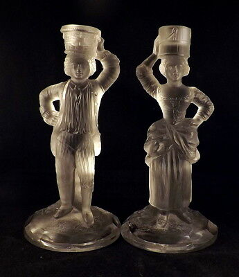Antique Saint Louis - Heavy French Crystal Figural Candlesticks - C1872