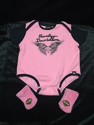 Harley Davidson Newborn Baby Girl Pink and Black One-Piece Suit with Socks